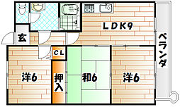 福岡県北九州市小倉北区中井1丁目の賃貸マンションの間取り