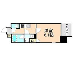 JR東西線 大阪天満宮駅 徒歩1分の賃貸マンション 6階1Kの間取り
