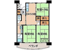 京都府京都市伏見区向島四ツ谷池の賃貸マンションの間取り