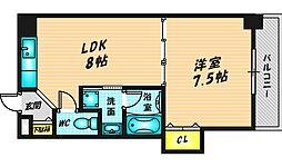 晋栄一番館 4階1LDKの間取り