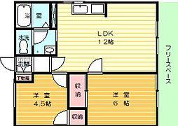 ハイツタウンボックスPART2 1階2LDKの間取り