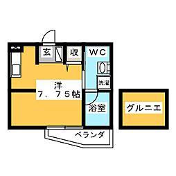 SAKURA 2階ワンルームの間取り