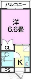 オモルフィ名桜 2階1Kの間取り
