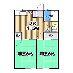 東京都国分寺市高木町3の賃貸アパートの間取り
