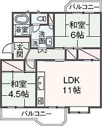 くずは台団地6号棟5階Fの間取り画像