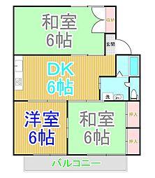 アンソレイユ尾崎A[1階]の間取り