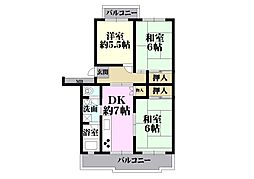 UR湊駅前[47号棟 206号室号室]の間取り