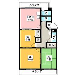 赤池サンハイツB棟[3階]の間取り
