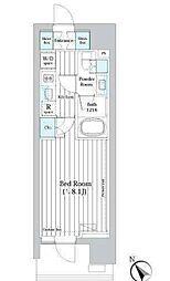 ライオンズフォーシア築地ステーション 7階1Kの間取り