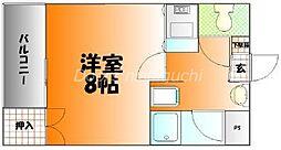 JR山陽本線 岡山駅 徒歩28分の賃貸マンション 3階1Kの間取り