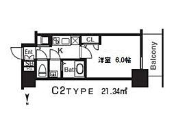 エスリード京橋グレイス 3階1Kの間取り