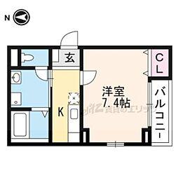 阪急京都本線 西向日駅 徒歩11分の賃貸アパート 2階1Kの間取り