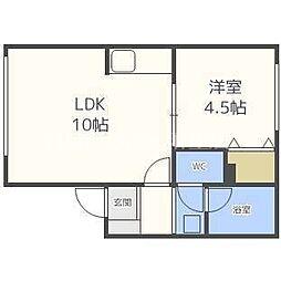 札幌市営南北線 北18条駅 徒歩7分の賃貸アパート 2階1LDKの間取り