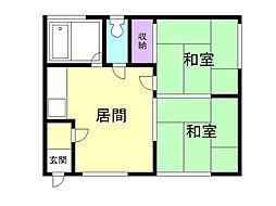 清和ハウス 2階2DKの間取り