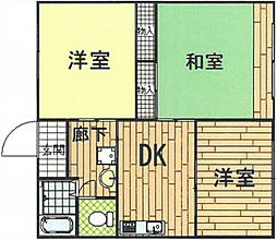 神奈川県横浜市磯子区磯子7丁目の賃貸アパートの間取り