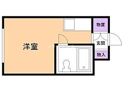 東栄マンション 3階ワンルームの間取り