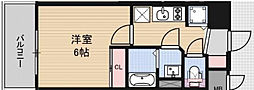 JR大阪環状線 福島駅 徒歩8分の賃貸マンション 4階1Kの間取り