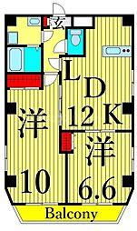 東武伊勢崎線 浅草駅 徒歩11分の賃貸マンション 7階2LDKの間取り