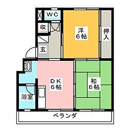 福吉アパート[1階]の間取り