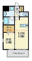 LANDIC K2620 10階1LDKの間取り