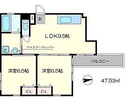 クオリティー嵯峨野[3階]の間取り