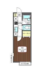 東京都府中市紅葉丘1丁目の賃貸アパートの間取り