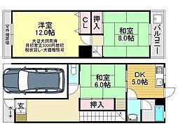 [一戸建] 大阪府大阪市平野区喜連5丁目 の賃貸【/】の間取り