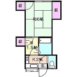 磯貝アパート[1階]の間取り