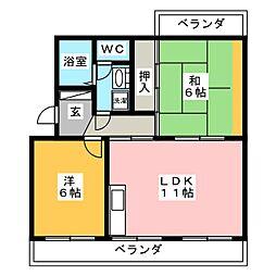 ラフォーレ西焼津[2階]の間取り