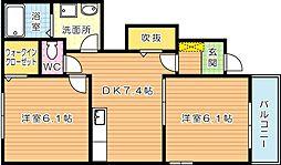 サンノーブI木屋瀬[1階]の間取り