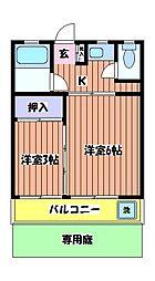 コーポむさしの[1階]の間取り