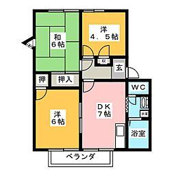 ロレンプレースB棟[1階]の間取り