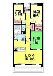 兵庫県神戸市東灘区御影山手1丁目の賃貸マンションの間取り