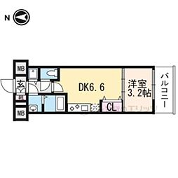 THE GARNET MILLENNIUM KYOTO九条烏丸203 2階1DKの間取り