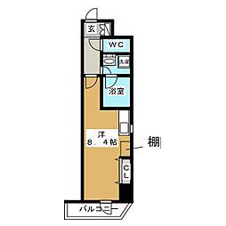 RELUXIA上野 8階ワンルームの間取り