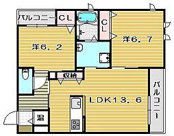 大阪府茨木市上穂積4丁目の賃貸マンションの間取り