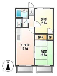 ユタカハイツC棟[1階]の間取り