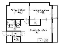 グランドール桜井[5階]の間取り