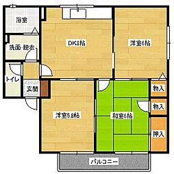 セジュール川崎[102号室]の間取り