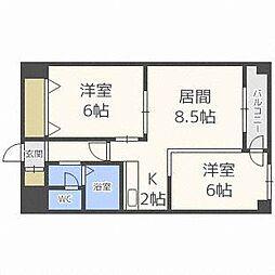 北海道札幌市白石区平和通2丁目南の賃貸マンションの間取り