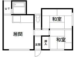 杉本マンション 2階2LDKの間取り
