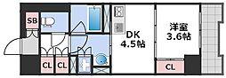 エル・セレーノ大阪天神橋 9階1DKの間取り