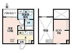 愛知県名古屋市北区城東町4丁目の賃貸アパートの間取り