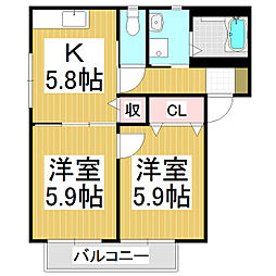 セピアコートHERO B棟[2階]の間取り