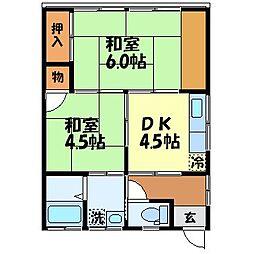 恵荘[202号室]の間取り