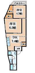 サンライズ長田[2階]の間取り