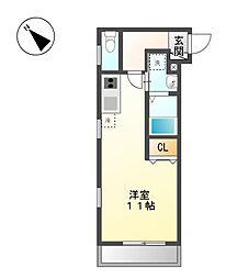 愛知県名古屋市天白区大坪2丁目の賃貸アパートの間取り