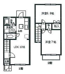 [テラスハウス] 神奈川県座間市緑ケ丘5丁目 の賃貸【神奈川県/座間市】の間取り