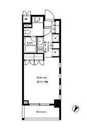 JR山手線 目黒駅 徒歩5分の賃貸マンション 3階1Kの間取り