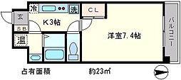 京都府京都市東山区三町目の賃貸マンションの間取り